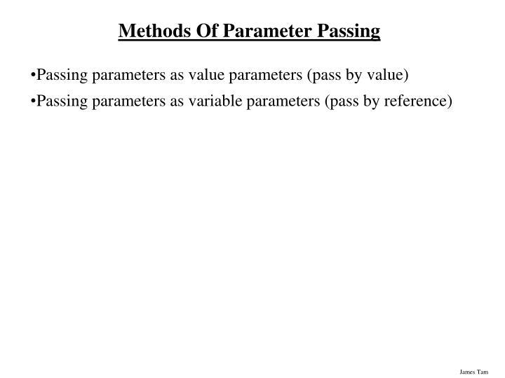 Methods Of Parameter Passing