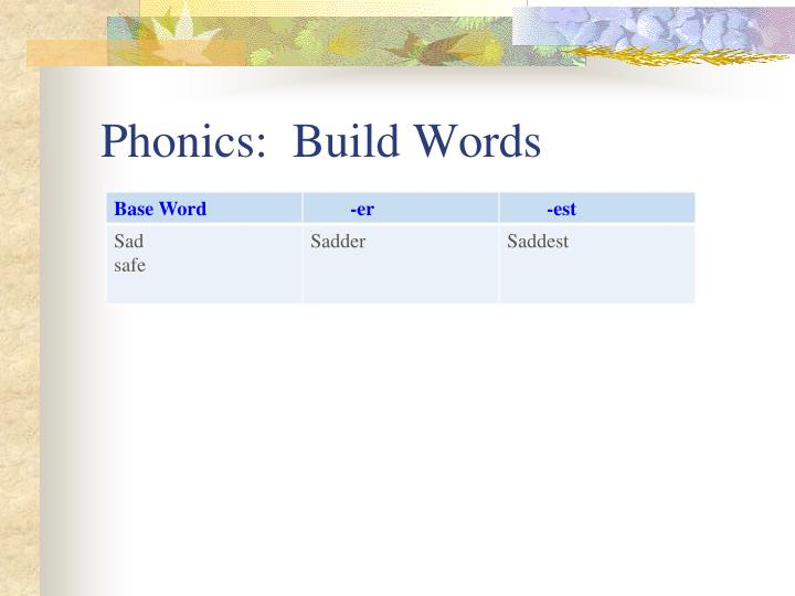Phonics:  Build Words