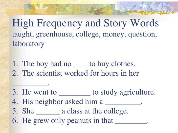 High Frequency and Story Words