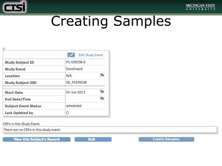 Creating Samples