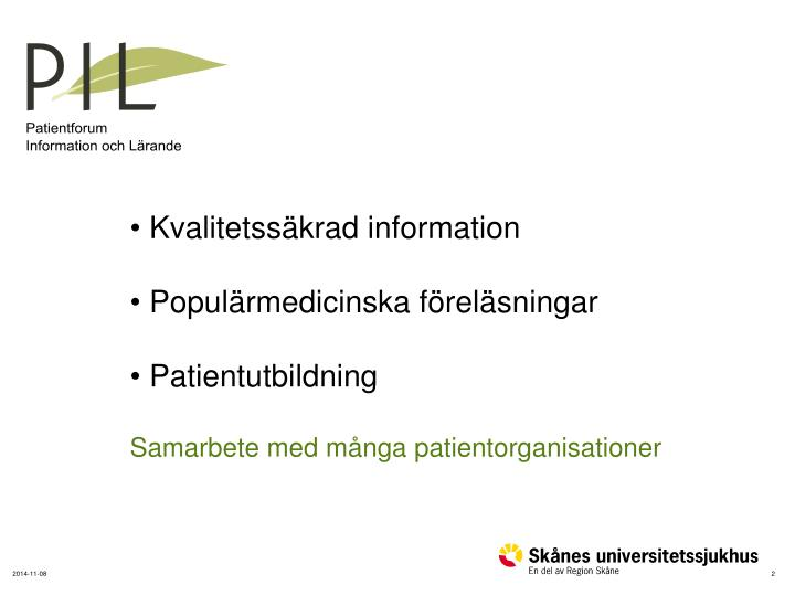 IL – Patientforum information Lärande