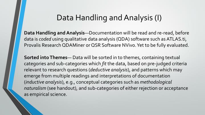 Data Handling and Analysis (I)