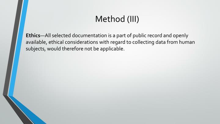 Method (III)