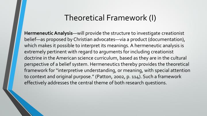 Theoretical Framework (I