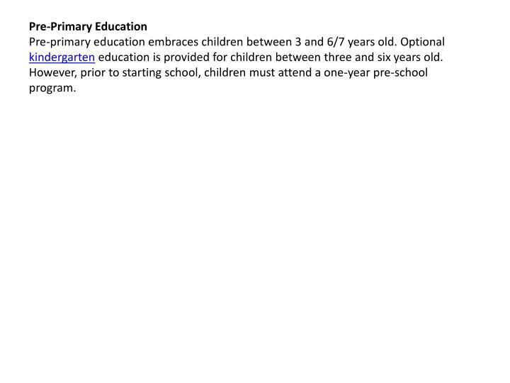 Pre-Primary Education
