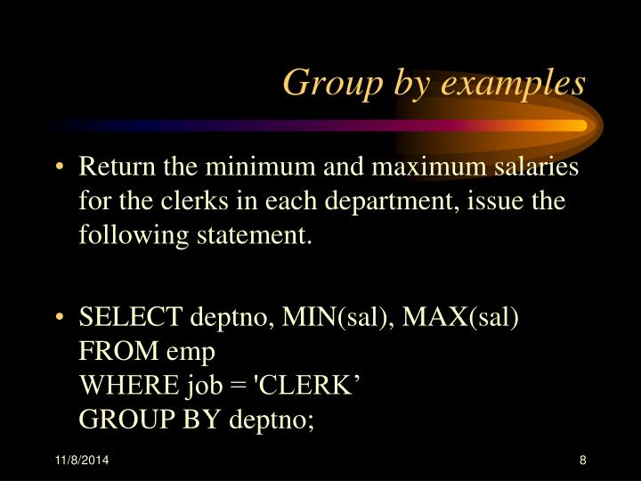 Group by examples