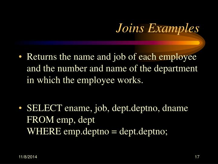 Joins Examples