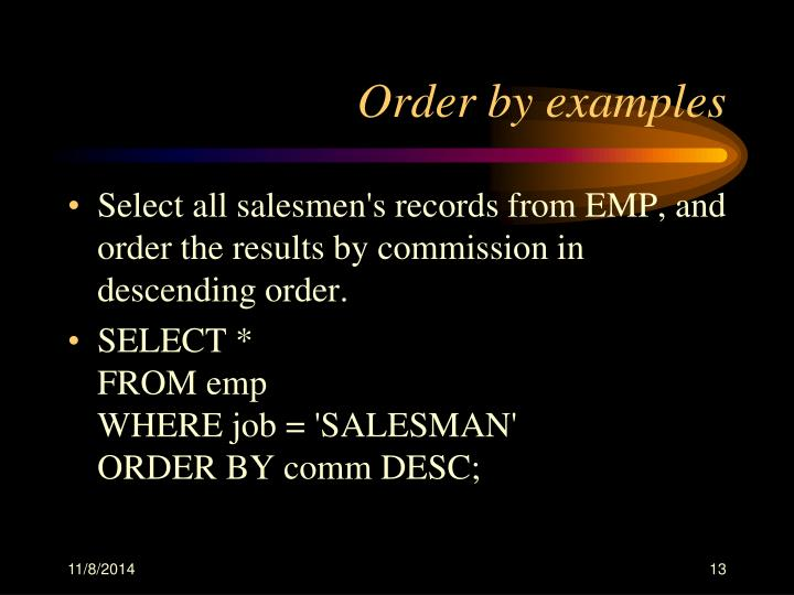 Order by examples