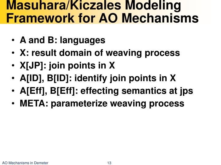Masuhara/Kiczales Modeling Framework for AO Mechanisms