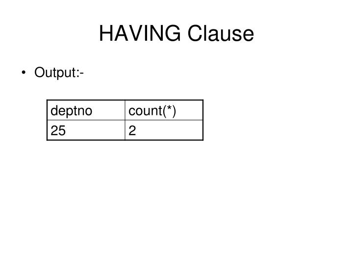 HAVING Clause