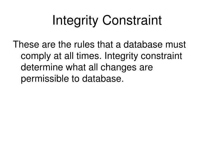 Integrity Constraint