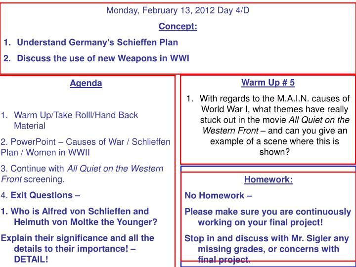 Monday, February 13, 2012 Day 4/D