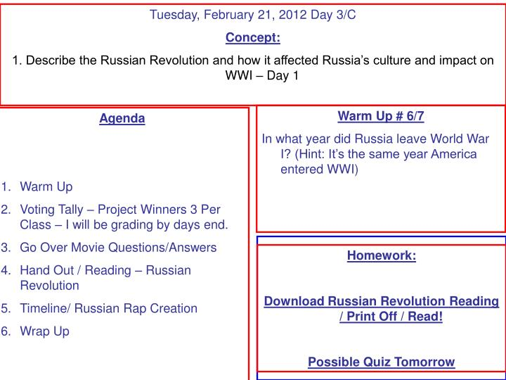 Tuesday, February 21, 2012 Day 3/C
