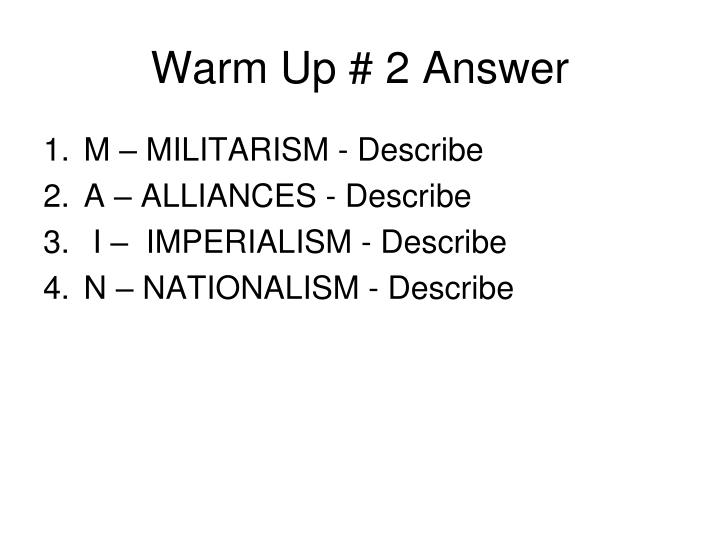 Warm Up # 2 Answer