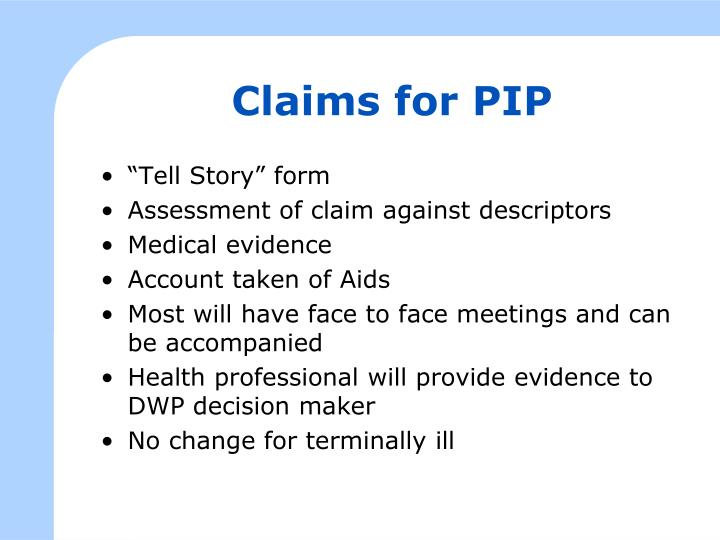 Claims for PIP