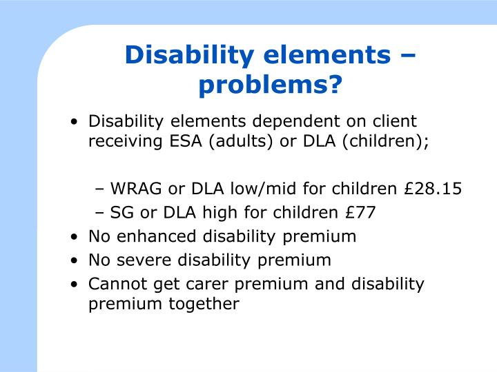 Disability elements – problems?