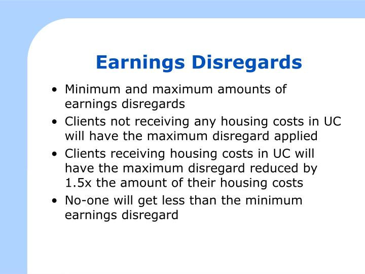 Earnings Disregards
