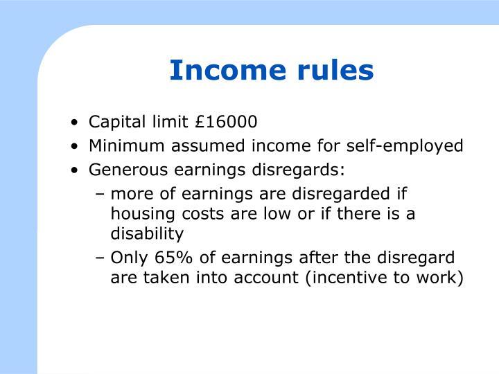 Income rules