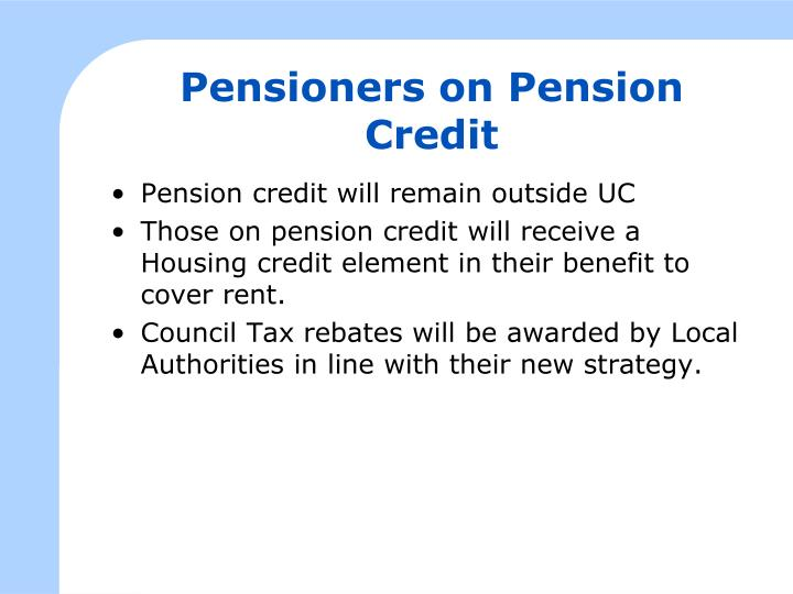 Pensioners on Pension Credit