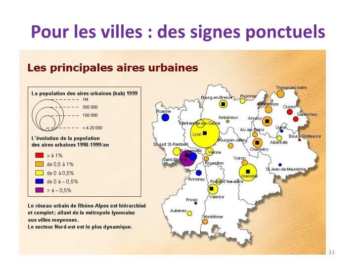 Pour les villes : des signes ponctuels