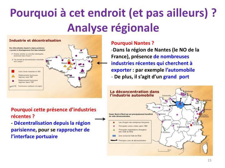Pourquoi à cet endroit (et pas ailleurs) ? Analyse régionale