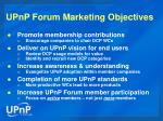 upnp forum marketing objectives