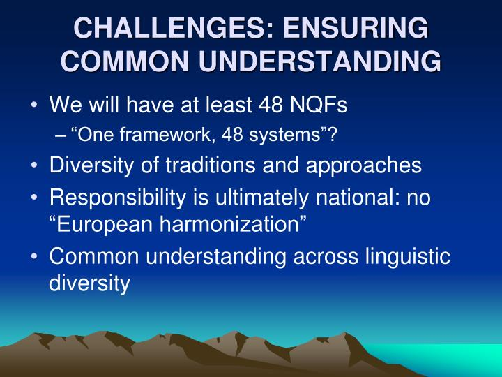 CHALLENGES: ENSURING COMMON UNDERSTANDING