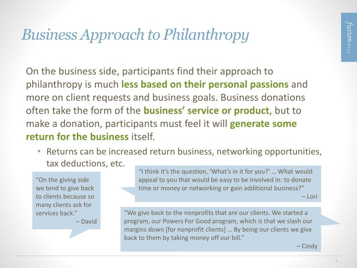 Business Approach to Philanthropy