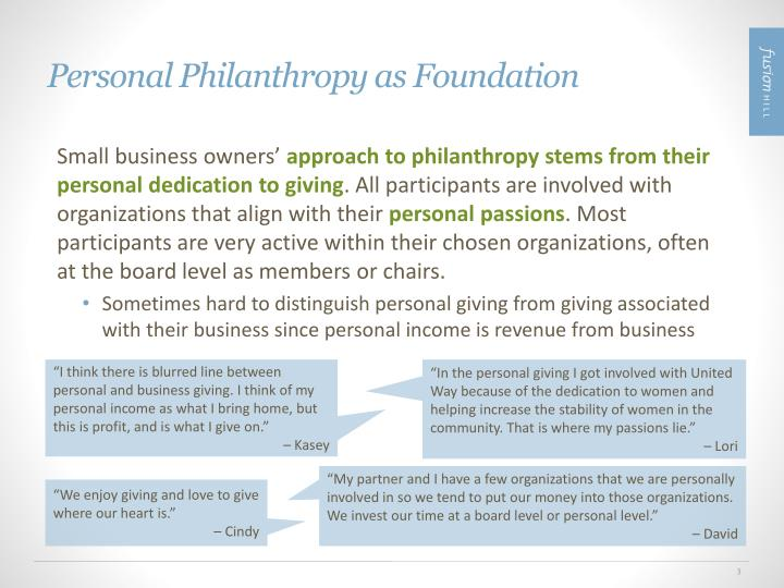 Personal Philanthropy as Foundation
