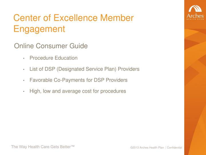 Center of Excellence Member Engagement