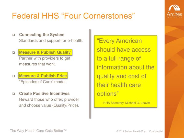 "Federal HHS ""Four Cornerstones"""
