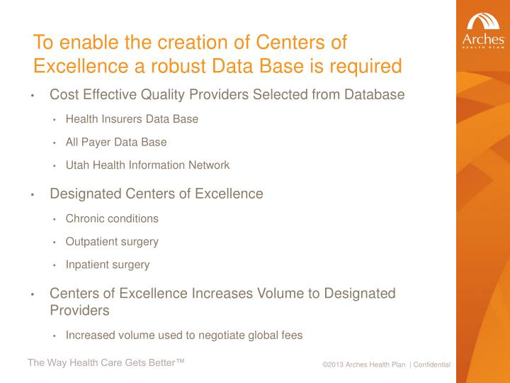 To enable the creation of Centers of Excellence a robust Data Base is required