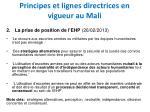 principes et lignes directrices en vigueur au mali1
