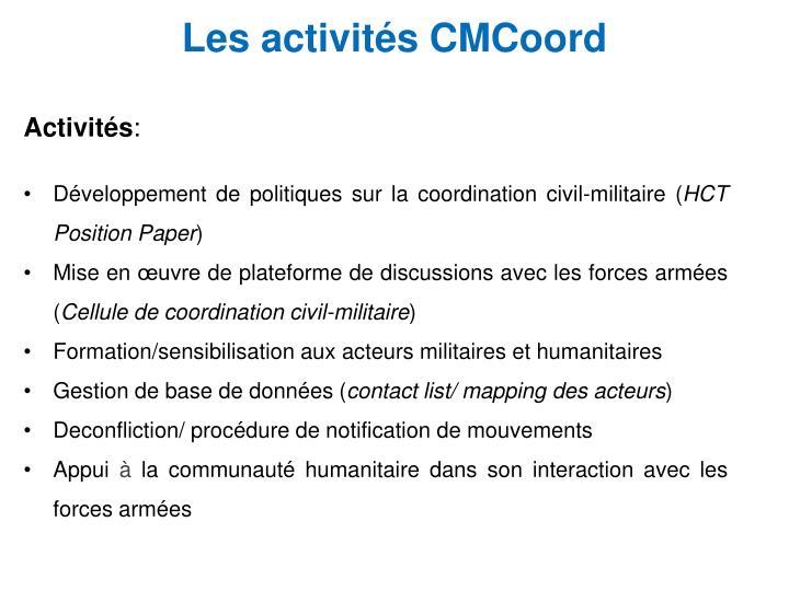 Les activités CMCoord