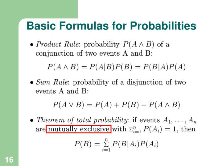 Basic Formulas for Probabilities