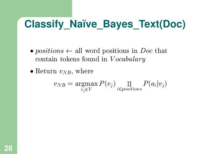 Classify_Naïve_Bayes_Text(Doc)