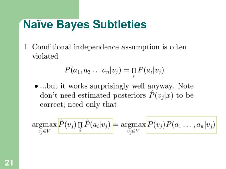 Naïve Bayes Subtleties