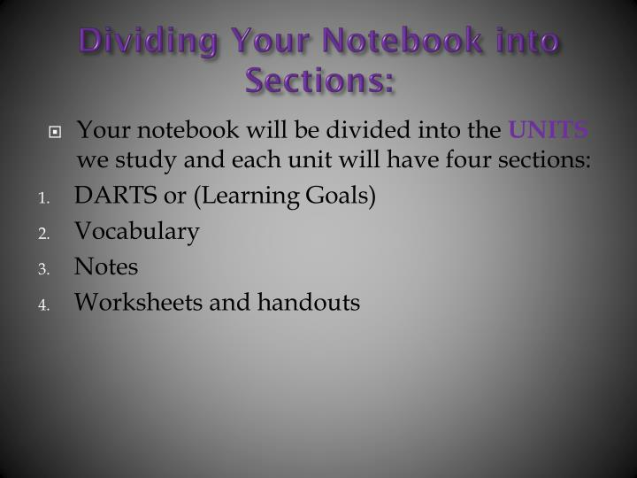 Dividing Your Notebook into Sections: