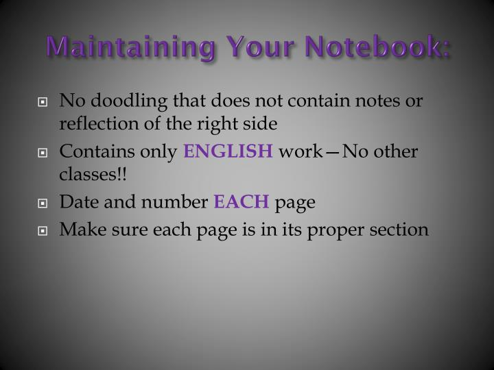 Maintaining Your Notebook: