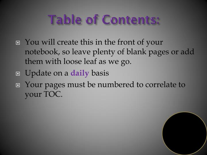 Table of Contents: