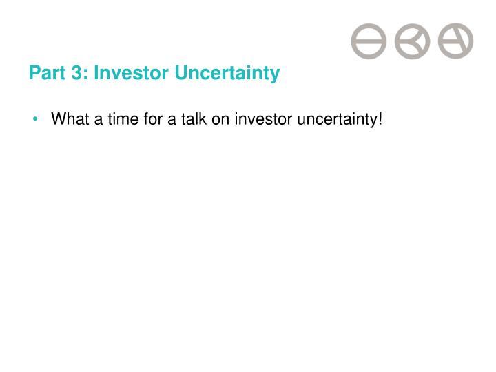 Part 3: Investor Uncertainty