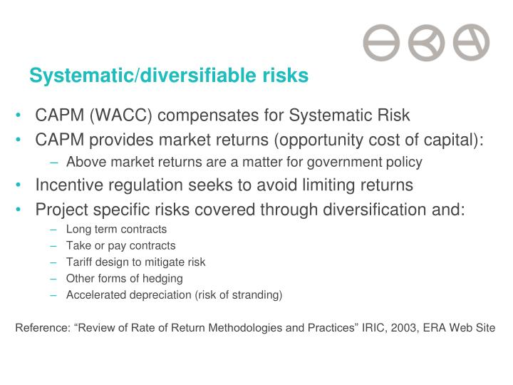 Systematic/diversifiable risks