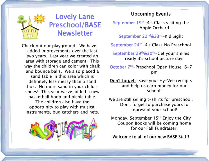 Lovely lane preschool base newsletter