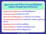 logistics strategic key achievement