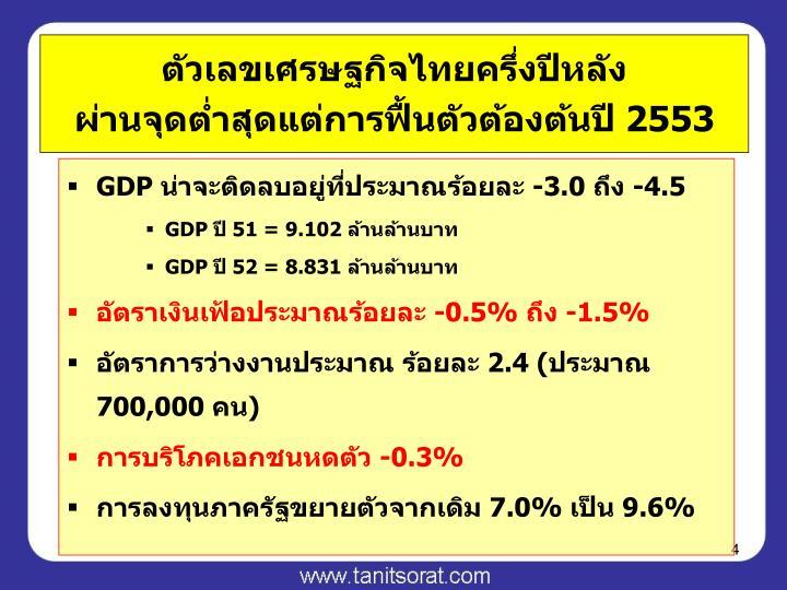 ตัวเลขเศรษฐกิจไทยครึ่งปีหลัง