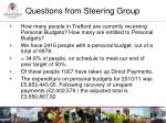 questions from steering group