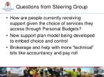 questions from steering group4