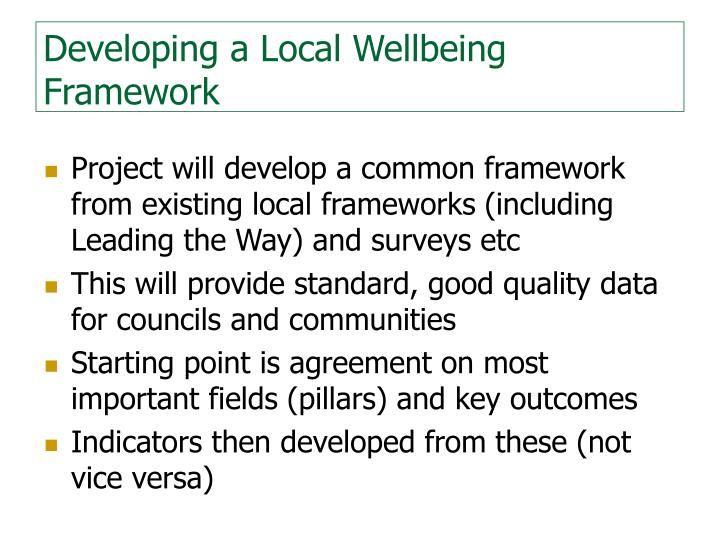 Developing a Local Wellbeing Framework