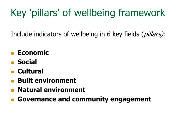 Key 'pillars' of wellbeing framework