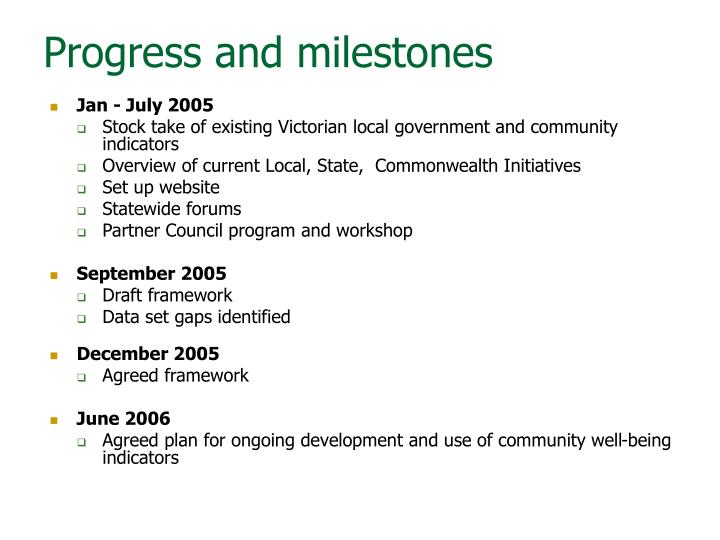 Progress and milestones